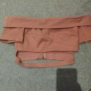 nude pink off shoulder crop top