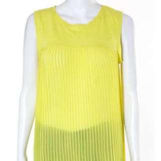 Zara Knit Bright Yellow Sleeveless Crew Pleated Tank Top Blouse
