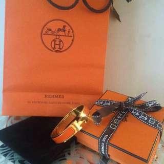 Hermes Orange And Gold H Bracelet