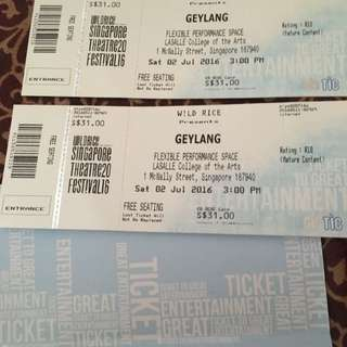 Pair Of Tickets To Geylang By WIld RIce