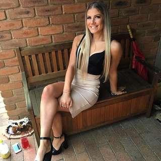 Beige Midi Skirt With Slit