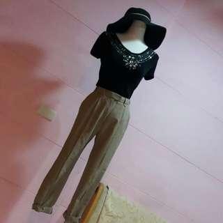 日本高質感👍百搭顯瘦卡其色高腰小腳九分褲