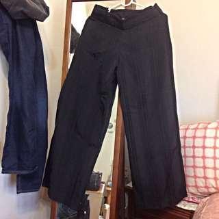 //寬褲//黑色長寬褲