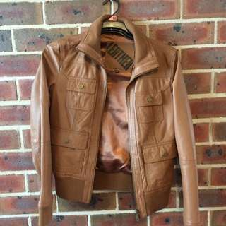 Brown Leather Jacket. Medium