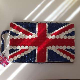 Sequinned Union Jack clutch purse