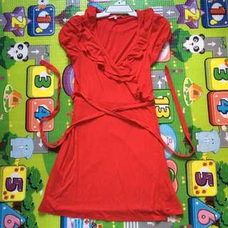 Review Red Wrap Around Dress
