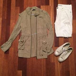 Portmans Green Olive Anorak Jacket Coat XS 6