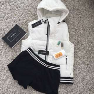 Bomber Jacket Vest White Black And Shorts