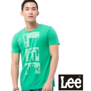 Lee 全新短袖T恤 圓領橘黃色文字印刷 橘/綠
