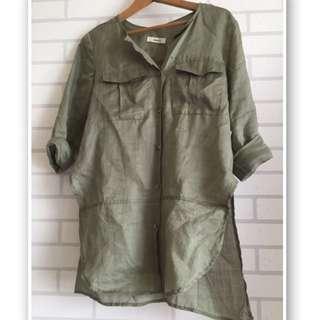 韓製麻料口袋襯衫