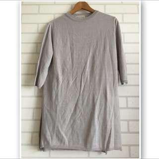 韓製細針織五分袖長版衣