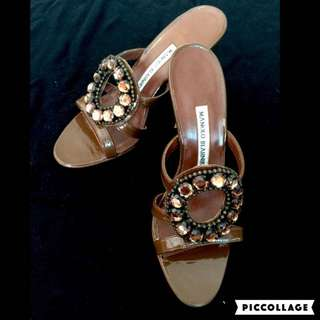 c09cea45a5f BN Manolo Blahnik jeweled high-heel sandals sz36