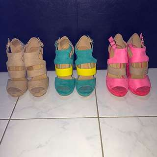 3 x Styled Open Toe Wedges