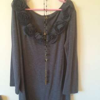 Soft Grey Long Top