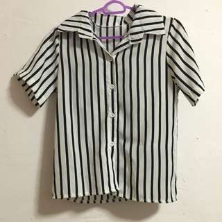 Black and White Stripes Blouse