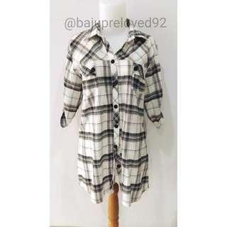 Baju Kemeja Atasan Blouse Mini Dress Kotak-kotak Bekas Second Preloved