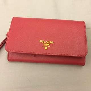 Prada桃紅皮夾