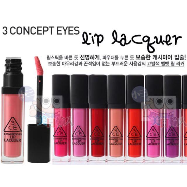韓國3CE 3CONCEPT EYES LIP LACQUER 超顯色唇蜜#FEVER,全新,加送韓國唇部除紋筆
