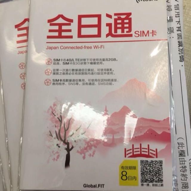 日本8天sim網路卡