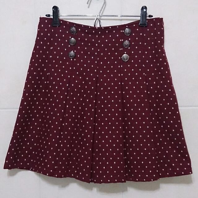 暗紅點點 排釦 百摺 膝上裙