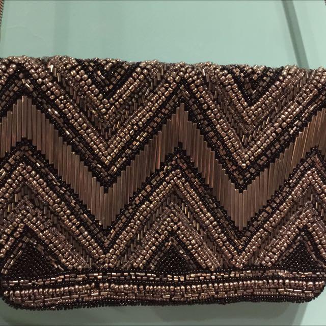 #調降 優惠中 維也納帶回 全新H&M 黑長鍊腕宴手拿包