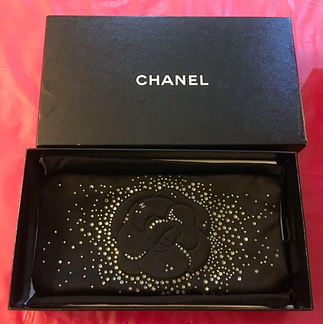 Authentic Chanel Satin Swarovski Clutch