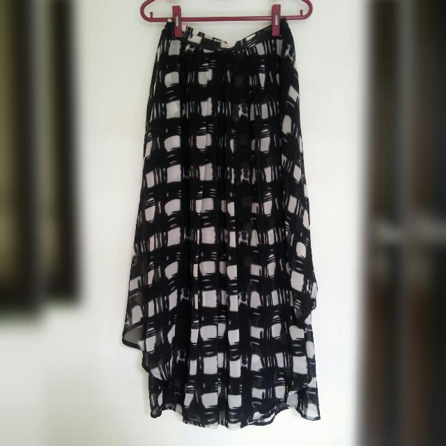Black And White 2 Layer Long Skirt