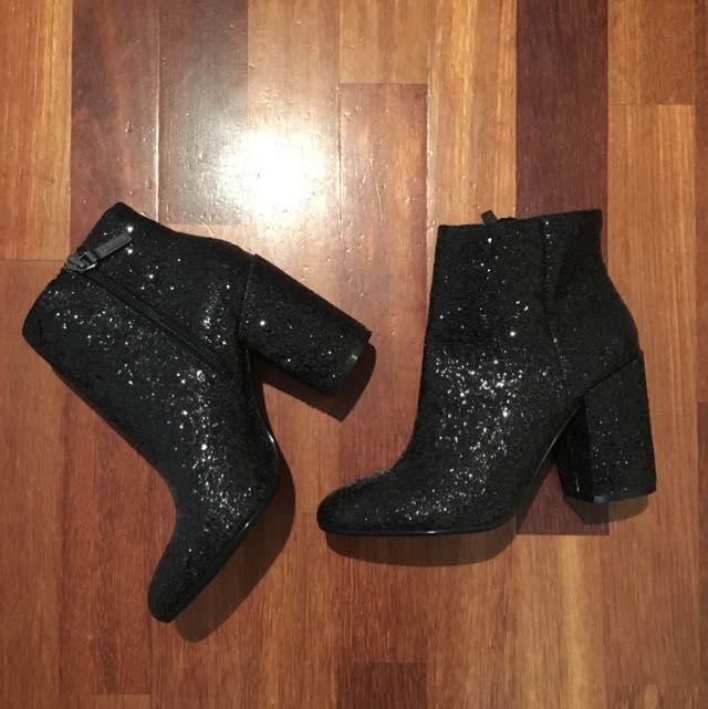 Black Glitter Boots 38 Or 8 New With Tags