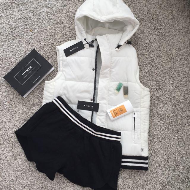 Bomber Jacket Vest White Black And Shorts