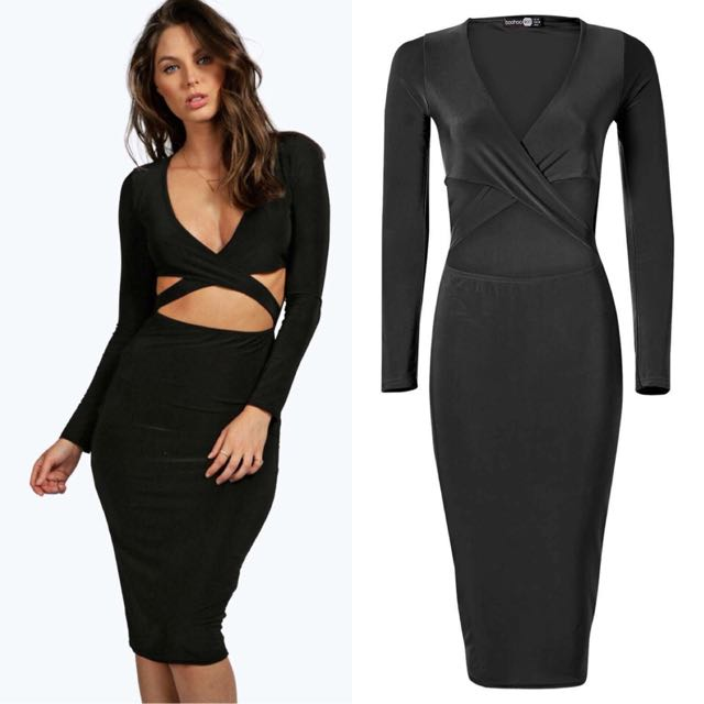 Boohoo Bodycon Long Sleeve Dress Black