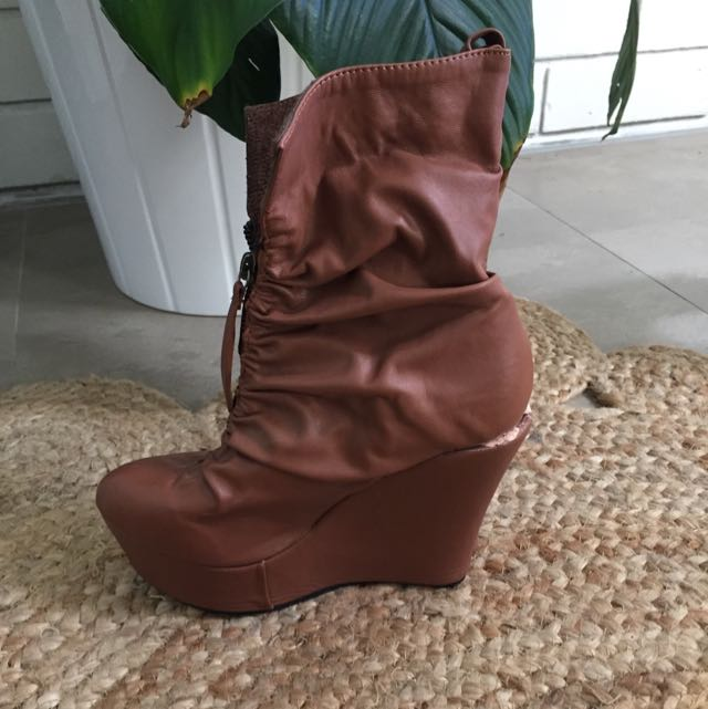 Brown Tan Lined High Heel Boots