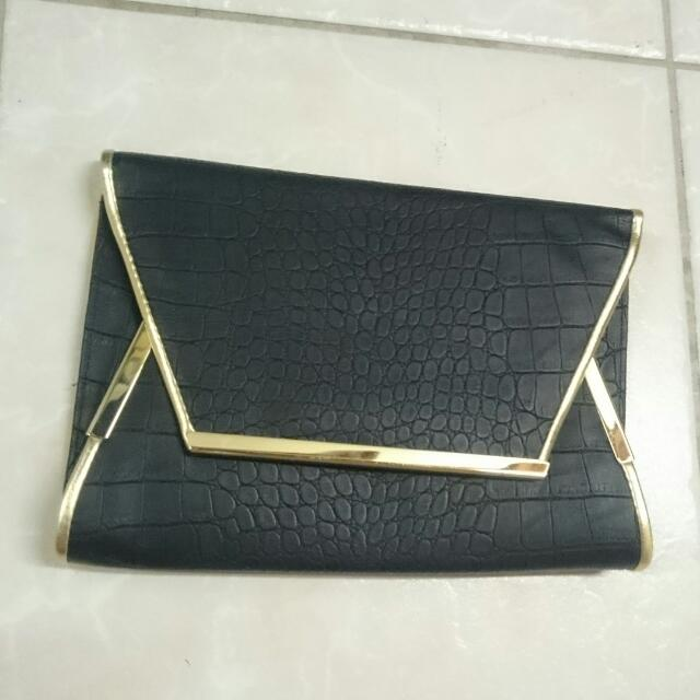 Colette Black Pleather Clutch