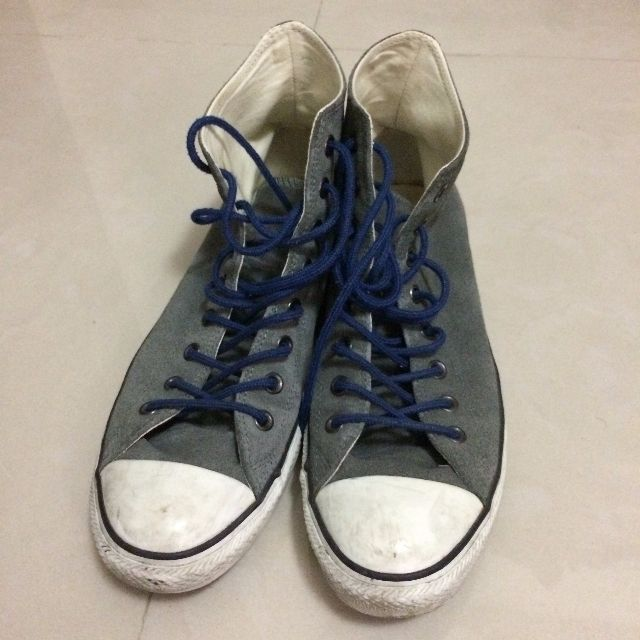 Converse All Star 灰色麂皮高筒帆布鞋 藍鞋帶 11號
