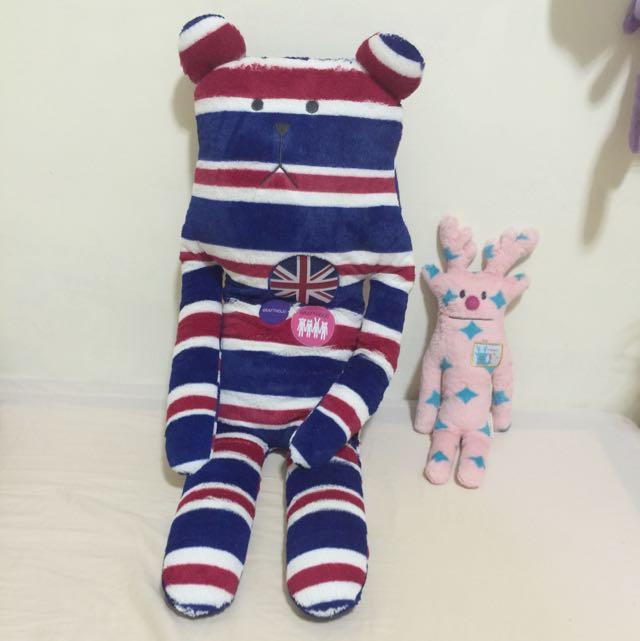 二手Craftholic宇宙人英國熊+聖誕麋鹿娃娃