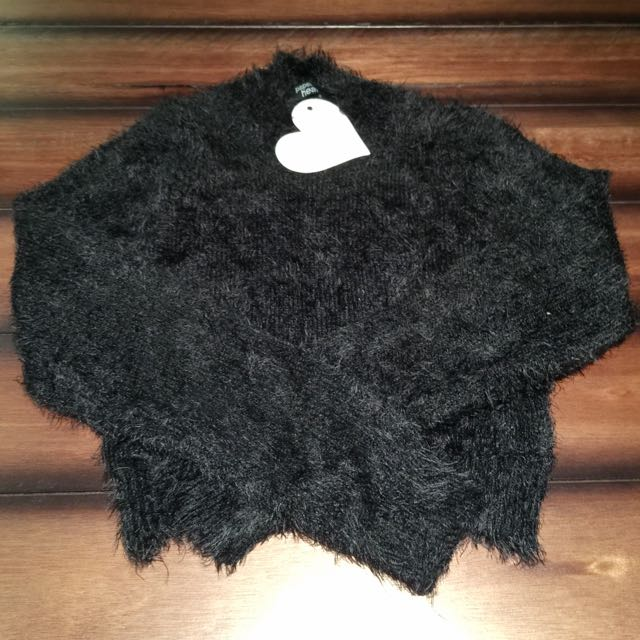 Crop High Neck Fluffy Top