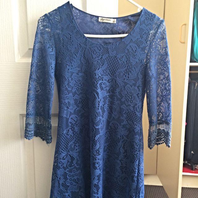 Cute 3/4 Sleeve Lace Dress