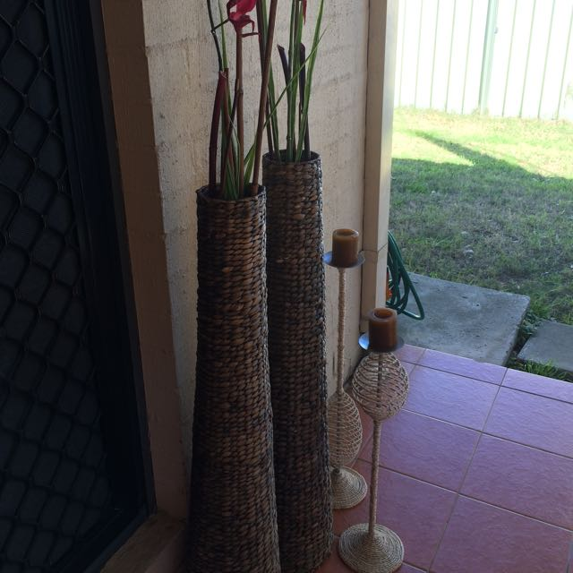 Large Size Rattan 2 Vases And 2 Candle Holders Free Delivery