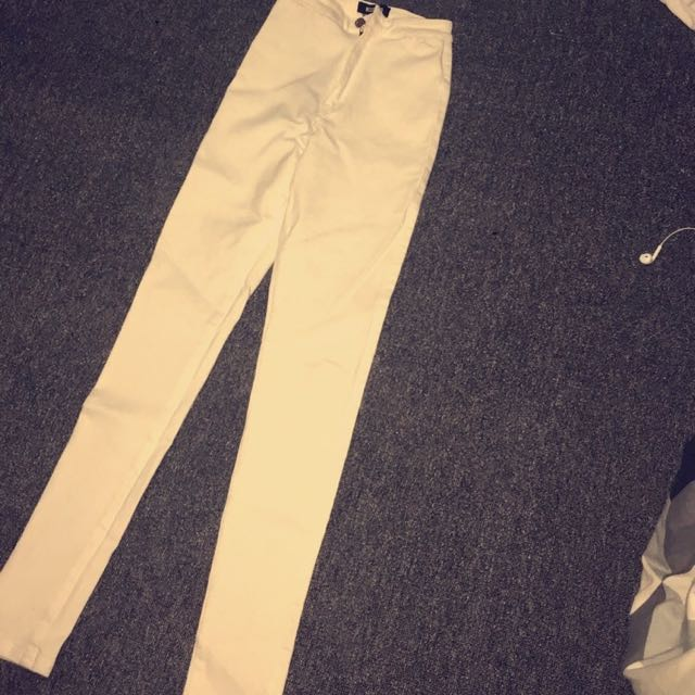 Misguided White High-waisted Jeans