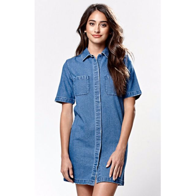 Pacsun Kendall Kylie Short Sleeve Denim Dress Women S Fashion On Carou