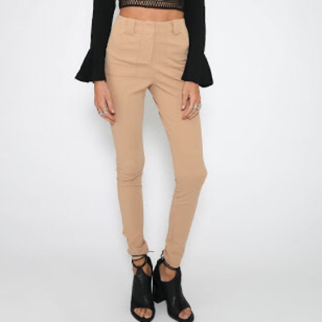 Peppermayo Avon Beige/Camel High Waisted Cigarette Pants