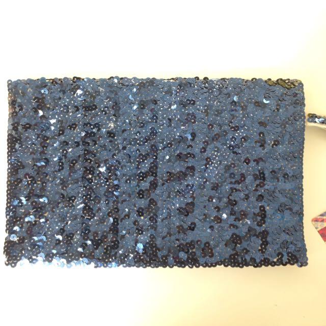 Sequinned Union Jack clutch purse