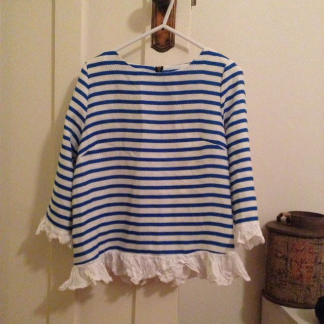 Stripey Top With Frills
