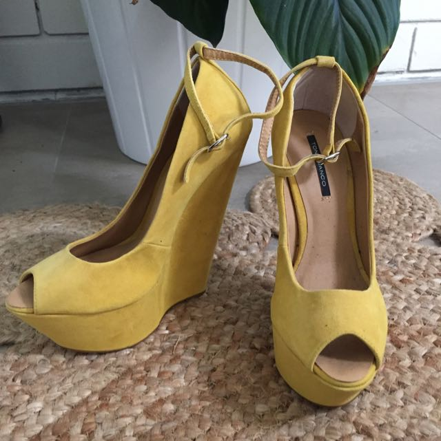 Tony Bianco Mustard Leather Heels Size 7