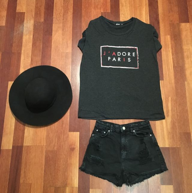 Washed Black Denim Shorts High Waist 6 XS Bershka