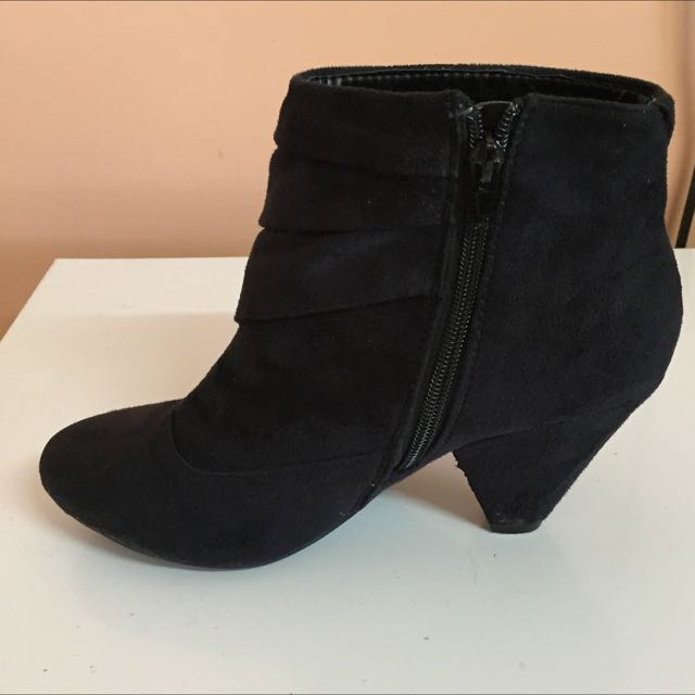 Womens Black Suede Ankle Boots