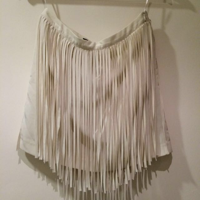 Zara Cream Fringe Skirt