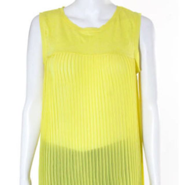 Zara Knit Bright Yellow Sleeveless Crew Pleated Tank Top Blouse