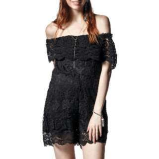 California Moonrise Off-Shoulder Crochet Romper.  Size: Small/X-Large  Price: $40.00