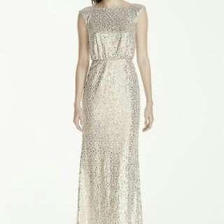 David's Bridal Bridesmaid Silver Long Dress