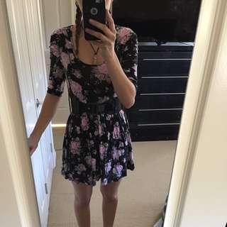 Black Flower Dress With Belt